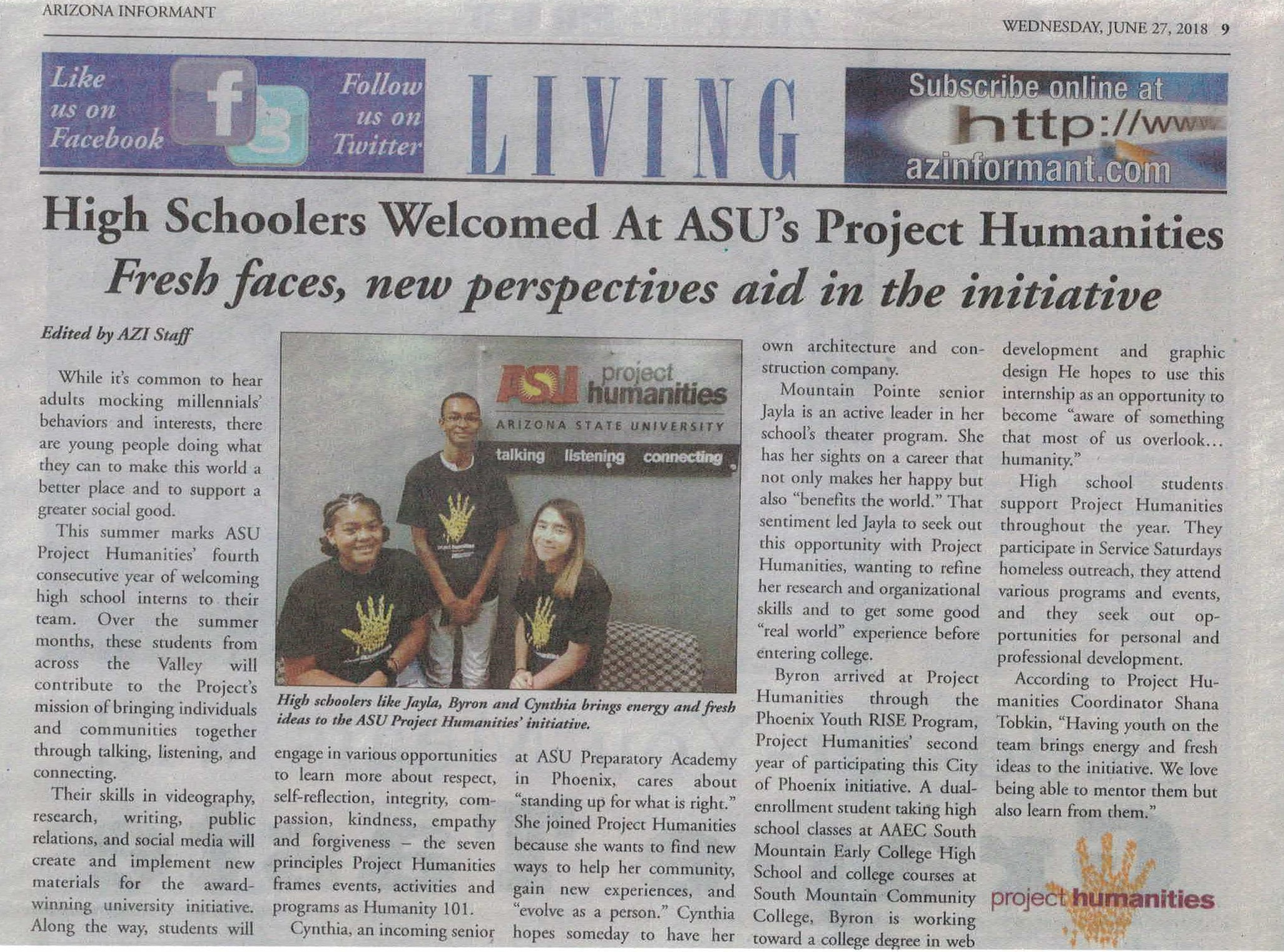 High Schoolers Welcomed At ASU's Project Humanities Fresh faces, new perspectives aid in the initiative